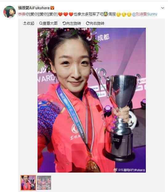 福原爱恭喜刘诗雯 刘诗雯第五次斩获世界杯女单冠军