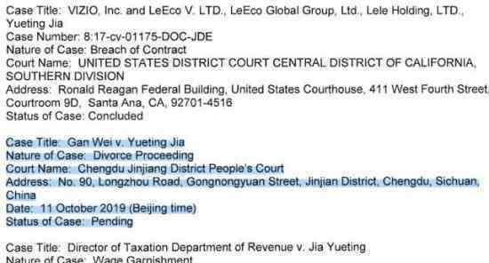 贾跃亭和甘薇离婚 什么情况技术性离婚