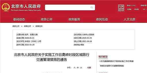 6月起北京恢复机动车尾号限行 具体内容是什么