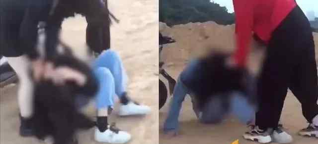 女孩遭多人踹脸围殴 疑为广东揭阳市惠来学生