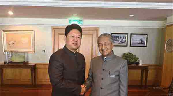 马哈蒂尔见中国大使,马方欢迎中国企业来马投资兴业
