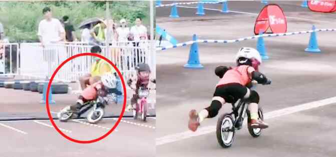 小朋友滑步车比赛摔倒立马爬起来 究竟发生了什么?
